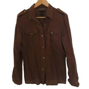 Vintage 100% Linen Safari Shirt/Light Jacket